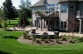 paver patio fire pit plantings