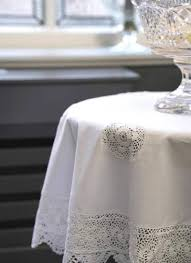 cotton and lace tablecloth 36 round