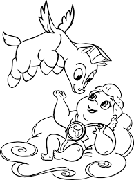 Baby Hercules And Flying Baby Pegasus Coloring Pages Coloring