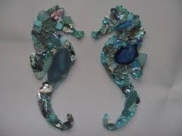 Shell Designs Aqua Mosaic Seahorse From Shell Designs Seahorses Mosaics And Aqua