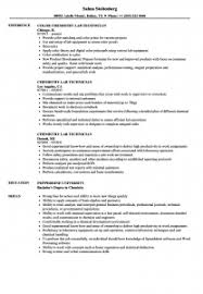 Lab Technician Resume Sample Chemistry Clinical Laboratory