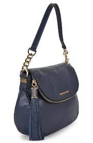 bedford large long adj strap navy gold blue leather shoulder bag shoulder bag michael kors shoulder bags for women