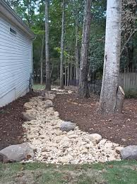 Dry Creekbed for Runoff and Erosion Control, Tennessee Garden Boulders and  River Rock