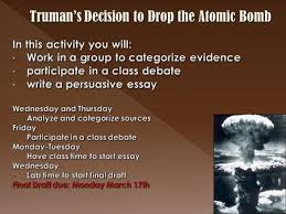 compare and contrast now that you know more about athens and  truman s decision to drop the atomic bomb p1 intro w thesis p2 supporting