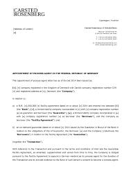 template appointment of process agent in carsted rosenberg copenhagen frankfurt address of lender carsted rosenberg llp advokatfirma mainzer landstrasse 46 d