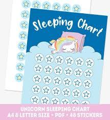 Rainbow Sleeping Chart Pony Good Night Chart Unicorn Girl