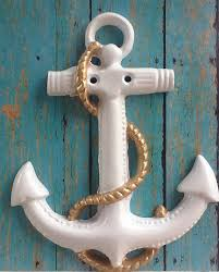 anchor wall art white gold rope nautical ship large cast iron