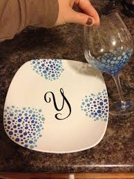 hand painted plate and matching wine glass