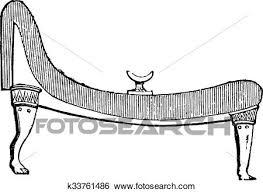 古代 エジプト人 ベッド 型 彫版 クリップアート