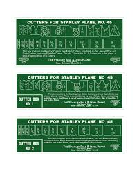 Stanley Plane Size Chart Stanley 45 Cutter Box Labels Woodworking Tools Wood Plane