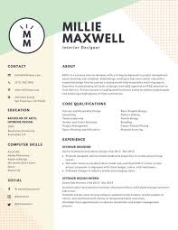 Gallery Of Pastel Green And Yellow Interior Designer Modern Resume