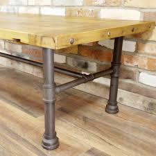 wood iron pipe legged coffee table