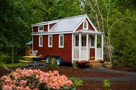 where to put a tiny house. a red and white tiny home in mt. hood, oregon. where to put house c