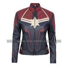 brie larson captain america blue leather jacket