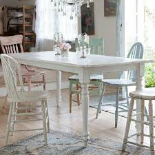 ... Dining Tables, Charming White Rectangle Rustic Wooden Shabby Chic  Dining Table Stained Design: best ...