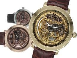 mechanical skeleton watch gift set woot rose gold silver