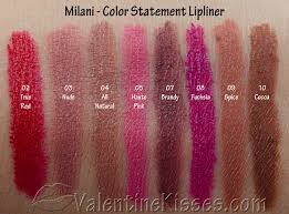 valentine kisses milani color statement lipliner all 8 shades pics swatches