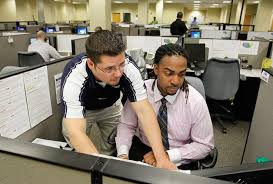 Recent influx of call center jobs to Tampa brings promise of ... ... Sales supervisor Brian Barela, left, helps sales associate Ken Verrett in the TruGreen call