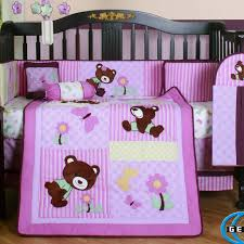 baby bedding sets for girls be equipped with appealing pink bear crib blanket and per