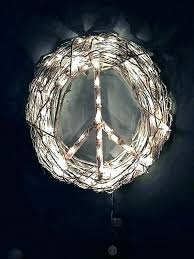 peace sign wreath diy outdoor lighted roman lights yard art metal image 0 white a peace sign