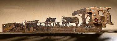 metal art rustic custom cut handsaw cattle cow and fence design wall decor recycled on custom cut metal wall art with amazon metal art rustic custom cut handsaw cattle cow and fence