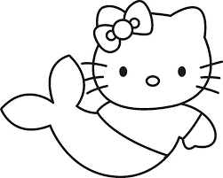 Simple Hello Kitty Coloring Pages As A Mermaid Cartoon Coloring