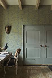 image country office. Scheme 9 - Office With Doors In Blue Gray And Wall Farrow \u0026 Ball Versailles BP2614 Wallpaper Pattern. Image From Decorating Colour Country