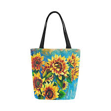 interestprint oil painting sunflower canvas tote bag shoulder handbag for women girls