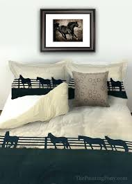 horses bedding sets horses at the fence equestrian duvet cover available in twin queen or king