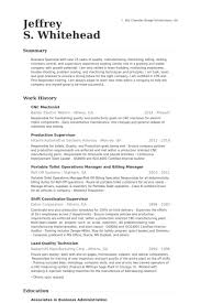 Sample Machinist Resume