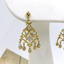 425 00745 diamond yellow gold ornate chandelier earrings