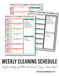 Bathroom Cleaning Schedule Amazing Printable Weekly Cleaning Schedule