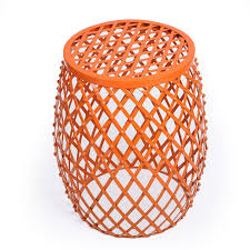 adeco orange home garden accents wire round iron metal stool side table plant stand ch0144 ch0144