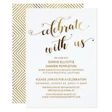 Gold Celebrate With Us Post Wedding Celebration Invitation Zazzle Com