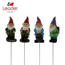 china garden resin gnome stake mini