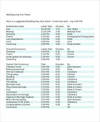 Image Result For Wedding Day Run Sheet Template Excel In