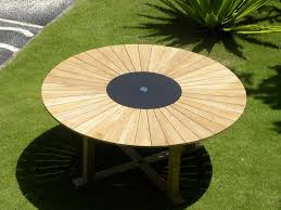 view the full image teak sunray effect table with granite lazy susan the hawaiian