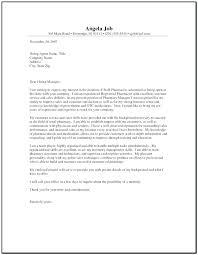 Cover Letter For Pharmacist Sample Cover Letter For Pharmacy