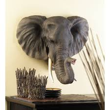 decorative plaques display personalized animal asian bathroom wall wooden elephant head carved wall decor imported from thailand 13117