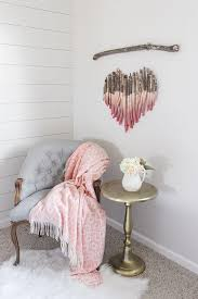 dip dyed wooden stick heart hanging diy project