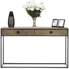 iron console table. 2 Drawer Industrial Iron Console Table In Dull Gold