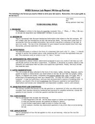 Science Report Format Fillable Online Misd Science Lab Report Write Up Format Fax