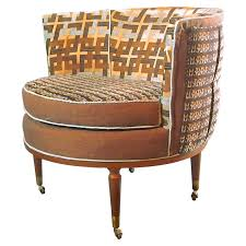 mid century barrel chair in brown and blue 3 in stock for