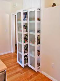 Tall Narrow Wall Kitchen Storage Cabinet With Frosted Glass Door And