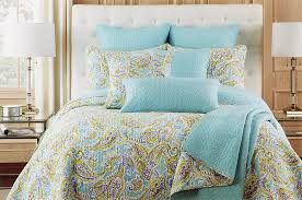 quilt sets simple paisley design bedding king quilt set blue green combine colored in square