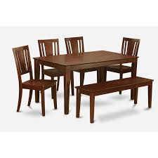 Cadu6c Mah Mahogany Rubberwood 6 Piece Kitchen Table With Dining
