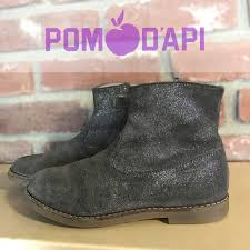 Pom D Api Size Chart Girls Gray Soft Leather Ankle Boots