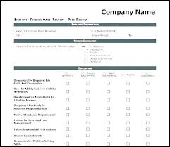Simple Performance Review Template Elegant Employee Job Word