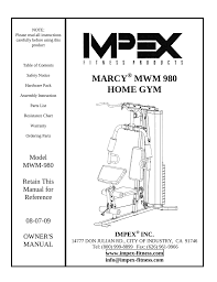 Impex Home Gym Exercise Chart Impex Mwm 980 Owners Manual Manualzz Com