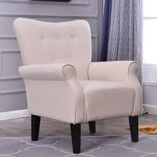belleze modern accent chair roll arm linen living room bedroom wood leg beige